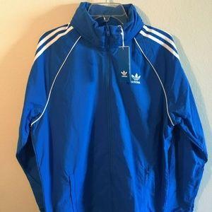 Adidas Blue track jacket zip up large Brand New